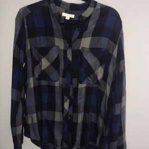 Beachlunchlounge Navy Blue and Gray Plaid Flannel